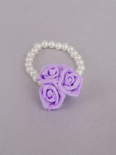 Corsaj margele cu trei trandafiri lila