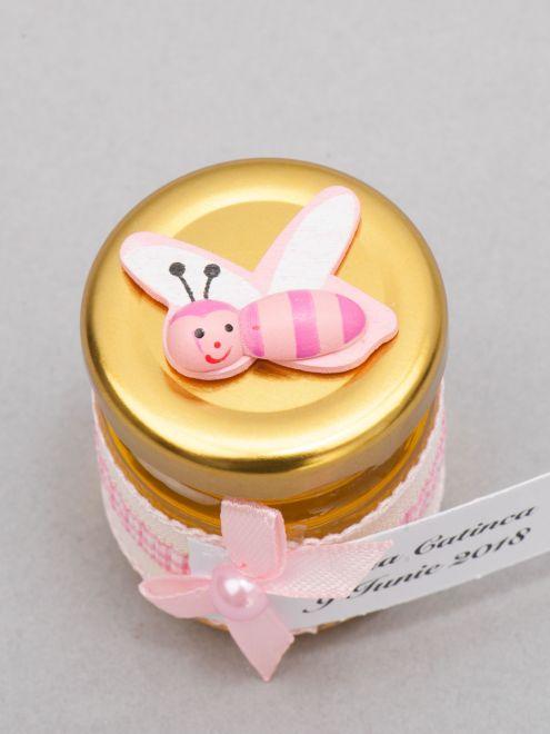 Marturii botez borcanele miere cu albinuta si fundita roz