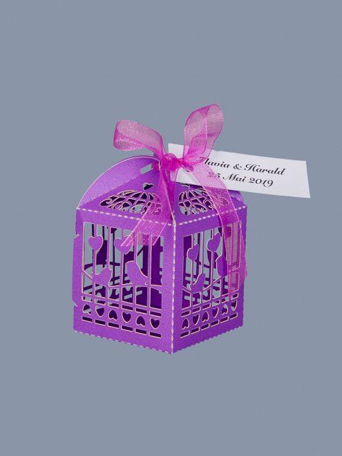 Marturii nunta cutiute vrabii si inimi mov