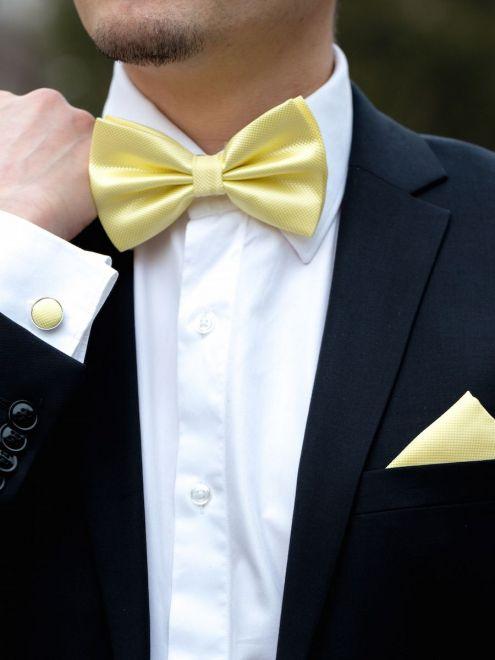 Set galben papion, batista si butoni camasa