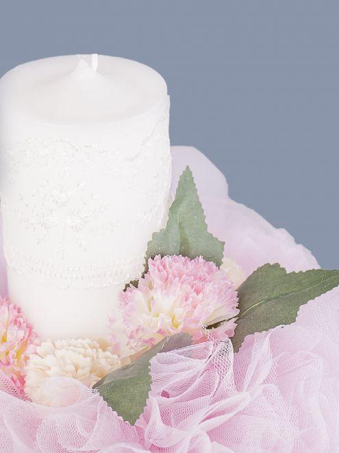 Lumanare botez fetite tulle roz cu floricele